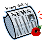 WTN Logo - depicts a symbolised newspaper wtih talking head. It has a poppy in the lower right corner.