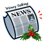 WTN Logo - depicts a symbolised newspaper with talking head. It has a holly sprig in the lower right corner.
