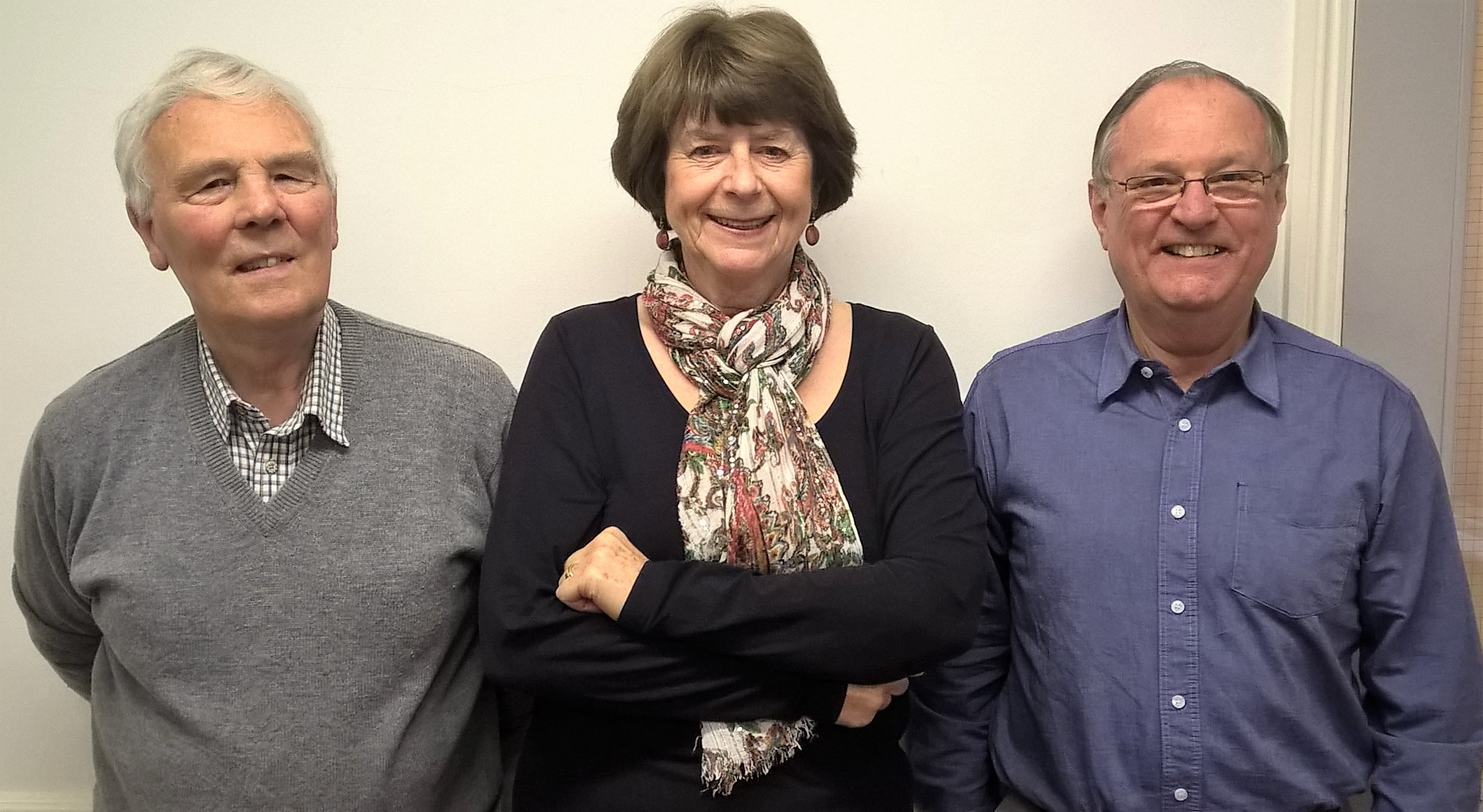 Pam Ayres with WTN secretary Peter Bee and chairman Peter Brading.