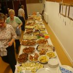 Long shot of the bounteous buffet table.